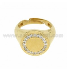 ROUND 16 MM RING IN SILVER AND GOLD PLATED 925 ‰ ZIRCONIA WHITE SIZE ADJUSTABLE FROM 17