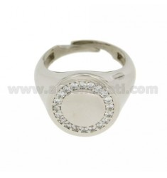 RING ROUND 16 MM SILVER RHODIUM 925 ‰ AND ZIRCONIA WHITE SIZE ADJUSTABLE FROM 17