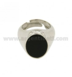 LITTLE FINGER RING WITH ONYX OVAL 16X12 MM IN RHODIUM AG TIT 925 ‰ ADJUSTABLE 5