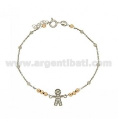 CABLE BRACELET WITH ALTERNATE BALLS 3 MM AND CENTRAL CHILD 12 MM WITH ZIRCON PAVES IN AG RHODIUM-PLATED AND ROSE GOLD PLATED 18