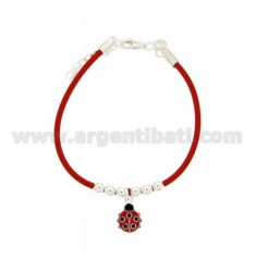 RUBBER BRACELET WITH ENAMELED LADYBIRD CENTRAL AND BALLS 4 MM RHODIUM-PLATED SILVER TIT 925 ‰ CM 16 EXTENDABLE TO 19