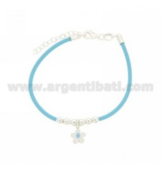 RUBBER BRACELET WITH CENTRAL FLOWER ENAMELLED AND BALLS 4 MM RHODIUM-PLATED SILVER TIT 925 ‰ CM 16 EXTENDABLE TO 19
