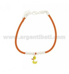 RUBBER BRACELET WITH CENTRAL DUCK ENAMELED BALLS 4 MM RHODIUM-PLATED SILVER TIT 925 ‰ CM 16 EXTENDABLE TO 19