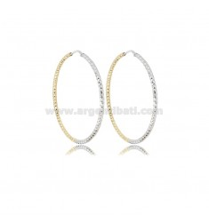EARRINGS A CIRCLE TWO-TONE 2 MM DIAMONDED TO TRIANGOLI DIAMETER 42 SILVER GOLD PLATED AND RHODIUM TIT 925