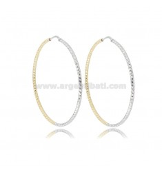 EARRINGS A CIRCLE TWO-TONE 2 MM DIAMONDED TO TRIANGOLI DIAMETER 50 SILVER GOLD PLATED AND RHODIUM TIT 925