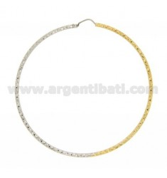 HOOP EARRINGS TWO.TONE BARREL 2 MM DIAMOND TRIANGLES IN DIAMETER 68 IN SILVER AND GOLD PLATED RHODIUM TIT 925