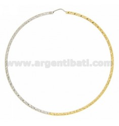 HOOP EARRINGS TWO.TONE BARREL 2 MM DIAMOND TRIANGLES IN DIAMETER 75 IN SILVER AND GOLD PLATED RHODIUM TIT 925