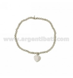 BALL SPRING BRACELET 3 MM WITH HEART PENDANT 11X10 MM IN AG RHODIUM PLATED TIT 925