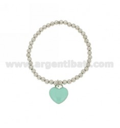 SPRING BALL BRACELET WITH 4 MM MM 16x15 Hang HEART WITH A PLATE IN TIFFANY GREEN ENAMEL RHODIUM AG TIT 925