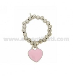 BALL SPRING RING 3 MM WITH HEART PENDANT 11X10 MM IN PLATE WITH PINK ENAMEL IN AG RHODIUM-PLATED TIT 925