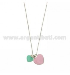 FACETED BALL CHAIN WITH PENDANT 2 HEARTS MM 12X10 AND MM 17X15 WITH GREEN ENAMEL TIFFANY AND ROSE IN AG RHODIUM TIT 925 CM 50
