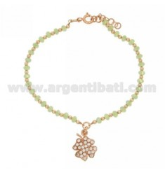 BRACELET WITH PASTEL GREEN SYNTHETIC STONES 4X2.5 MM WITH FOUR LEAF CLOVER PENDANT MM16X12 WITH ZIRCONIA PAVE IN AG ROSE GOLD PL