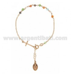 ROSARY BRACELET WITH STONES WITH SYNTHETIC MULTI 38X24 MM MADONNINA MIRACULOUS CROSS AND FINAL IN ROSE GOLD PLATED AG TIT 925 ‰