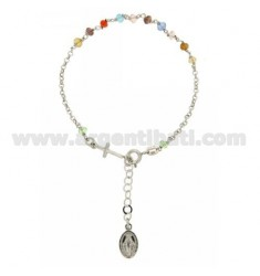 ROSARY BRACELET WITH STONES WITH SYNTHETIC MULTI 38X24 MM MADONNINA MIRACULOUS CROSS AND FINAL IN RHODIUM AG TIT 925 ‰ CM FROM 1