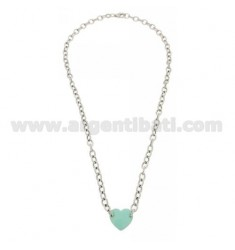 COLLIER CABLE WITH CENTRAL HEART 13x14 MM WITH GREEN ENAMEL RHODIUM AG TIFFANY IN TIT 925 CM 42