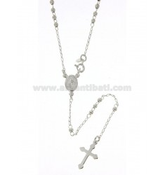 ROSARY NECKLACE WITH SMOOTH BALL 2.5 MM 45 CM SILVER TITLE 925 ‰