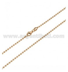 CHAIN MILITARY BALL 50 MM 2 CM IN SILVER ROSE GOLD PLATED 925 ‰