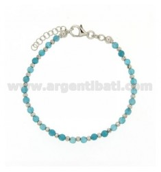 BRACCIALEIN HYDROTHERMAL STONES BALL faceted MM 3 ALTERNATE COLOR BLUE BALL 2.5 MM SILVER RHODIUM TIT 925 CM AND 17 TO 20 ESTENS