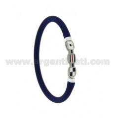 BLUE RUBBER BRACELET EMPTY 5 MM TUBULAR WITH STEEL CENTRAL WITH 3 ENAMELED FLAGS