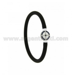 BRACELET IN BLACK RUBBER TUBULAR EMPTY 5 MM WITH CENTRAL IN STEEL WITH ROUND ENAMELED WIND ROSE