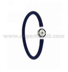 RUBBER BRACELET BLUE TUBULAR EMPTY 5 MM WITH CENTRAL IN STEEL WITH ROUND ENAMELED WIND ROSE