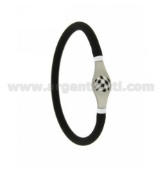 RUBBER BRACELET &39VACUUM TUBE BLACK 5 MM WITH CENTRAL STEEL WITH BLACK AND WHITE GLAZED PALLINO