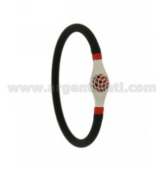 BRACELET IN BLACK RUBBER TUBULAR EMPTY 5 MM WITH CENTRAL IN STEEL WITH BLACK AND RED ENAMELED BALL