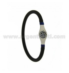 RUBBER BRACELET &39VACUUM TUBE BLACK 5 MM WITH CENTRAL STEEL WITH BLACK AND BLUE GLAZED PALLINO