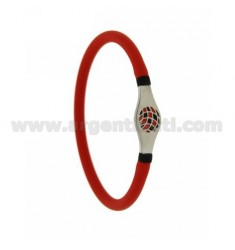 BRACELET IN RED RUBBER TUBULAR EMPTY 5 MM WITH CENTRAL IN STEEL WITH RED AND BLACK ENAMELED BALL