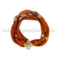 LICRA ORANGE BRACELET WITH CENTRAL CROSS WITH RESIN AND STEEL TWO TONE Stass