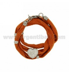 LICRA CENTRAL ORANGE BRACELET WITH HEART WITH RESIN AND STEEL TWO TONE Stass