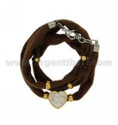 LICRA BRACELET BROWN WITH CENTRAL HEART WITH RESIN AND STEEL TWO TONE Stass