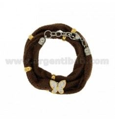 LICRA BRACELET WITH CENTRAL BROWN BUTTERFLY WITH RESIN AND STEEL TWO TONE Stass