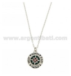 MESH NECKLACE 45 CM ship ESTENSIBIL And A PENDANT 50 ROUND 17 MM WITH ROSE OF THE WINDS IN GREEN GLAZED FUND AG TIT 925