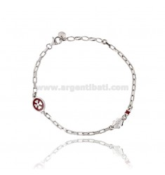 BRACELET MESH CABLE 18 CM ESTENSIBIL AND CLOVER IN CIRCLE WITH A 21 MM 9 GLAZED RED CLOVER IN RHODIUM AG TIT 925