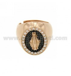 BAND RING WITH MIRACULOUS MEDAL WITH INSIDE EDGE PLATED RUTENIO zirconate AG IN ROSE GOLD PLATED ADJUSTABLE SIZE TIT 925