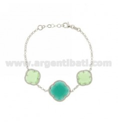 ROLO BRACELET CHAIN &8203&8203&39HYDROTHERMAL STONES AND FLOWERS IN PASTEL GREEN AND EMERALD 4.40.4 AG IN RHODIUM TIT 925