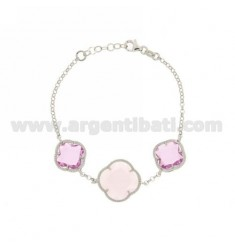 ROLO BRACELET CHAIN &8203&8203&39HYDROTHERMAL STONES AND FLOWERS IN PINK TRANSPARENT AND LOAD IN PINK MATT 50.11.50 AG RHO