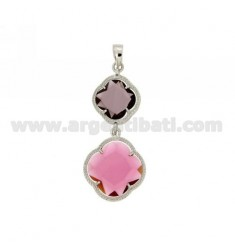 DOUBLE CHARM FLOWER IN STONES HYDROTHERMAL 13 COLOR PURPLE AND PINK PINK 16 IN RHODIUM AG TIT 925