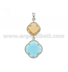 DOUBLE CHARM FLOWER IN YELLOW COLOR STONES HYDROTHERMAL OCRA SATIN 31 59 MATT AND BLUE AG IN RHODIUM TIT 925