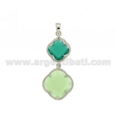 DOUBLE CHARM FLOWER IN COLOR STONES HYDROTHERMAL 40 EMERALD GREEN PASTEL AND 4 IN RHODIUM AG TIT 925