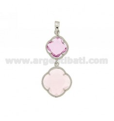 DOUBLE CHARM FLOWER IN PINK COLOR STONES HYDROTHERMAL LOAD AND CLEAR 50 11 IN PINK RHODIUM AG TIT 925