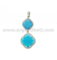 DOUBLE CHARM FLOWER IN BLUE COLOR STONES HYDROTHERMAL 59 MATT AND CLEAR BLUE SEA IN 30 AG RHODIUM TIT 925