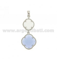DOUBLE CHARM FLOWER IN STONES HYDROTHERMAL 8P COLOR PEARL WHITE PAPER AND SUGAR IN 28 AG RHODIUM TIT 925