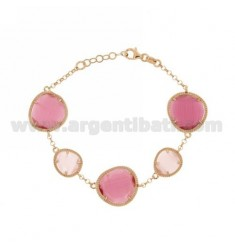 ROLO BRACELET &395 STONES PINK PEARL PINK PEARL AND RED 11P 16P IN ROSE GOLD PLATED AG TIT 925