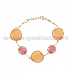 ROLO BRACELET &395 STONES RED AND PINK PEARL 16P 6P orange slots PEARL IN ROSE GOLD PLATED AG TIT 925