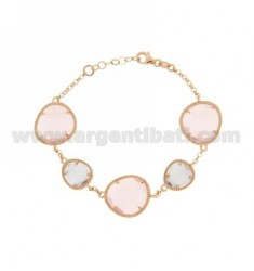 ROLO BRACELET &395 SASSI LILAC PEARL AND PINK PEARL 29P 11P IN ROSE GOLD PLATED AG TIT 925