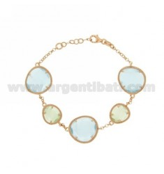ROLO BRACELET &395 SASSI PASTEL GREEN AND BLUE PEARL PEARL 4P 2P IN ROSE GOLD PLATED AG TIT 925