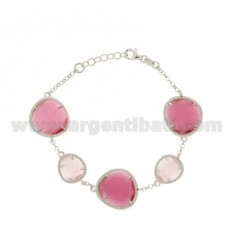 ROLO BRACELET &395 STONES PINK PEARL PINK PEARL AND RED 11P 16P IN RHODIUM AG TIT 925