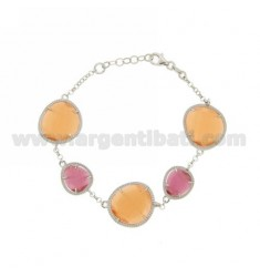ROLO BRACELET &395 STONES RED AND PINK PEARL 16P 6P orange slots PEARL IN RHODIUM AG TIT 925